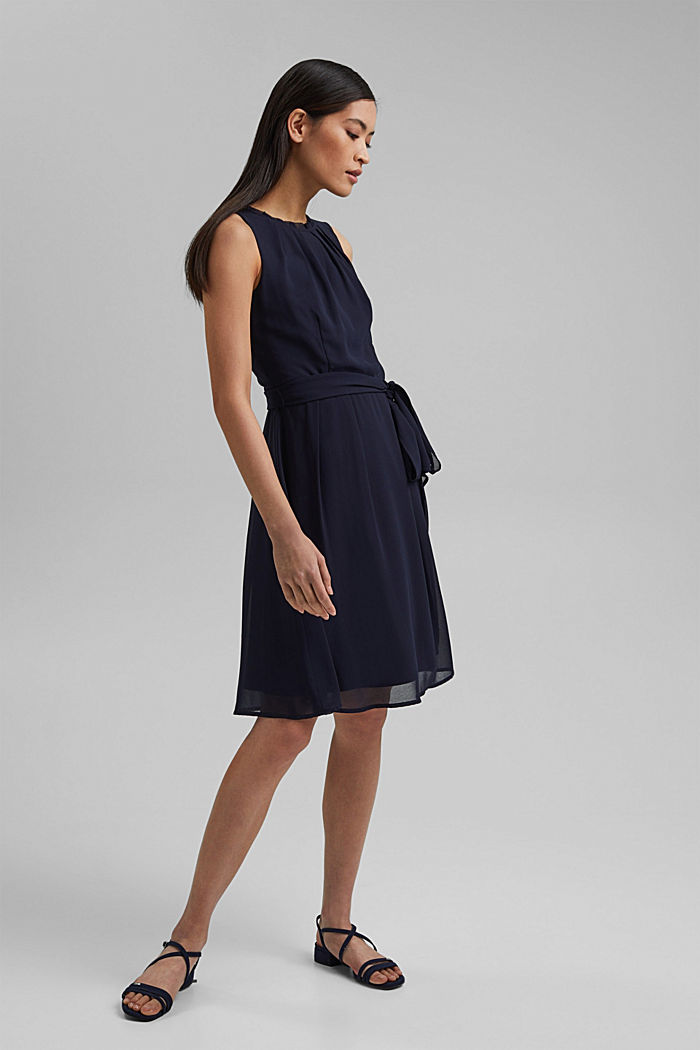Chiffon dress with a tie-around belt and frills, NAVY, detail image number 1