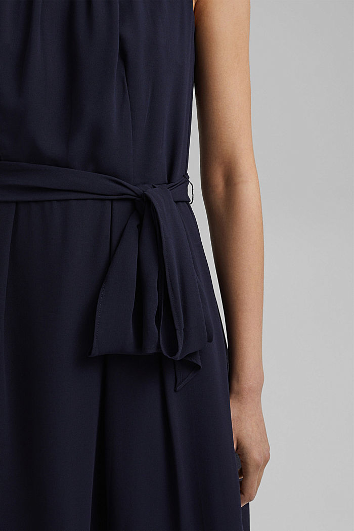 Chiffon dress with a tie-around belt and frills, NAVY, detail image number 3