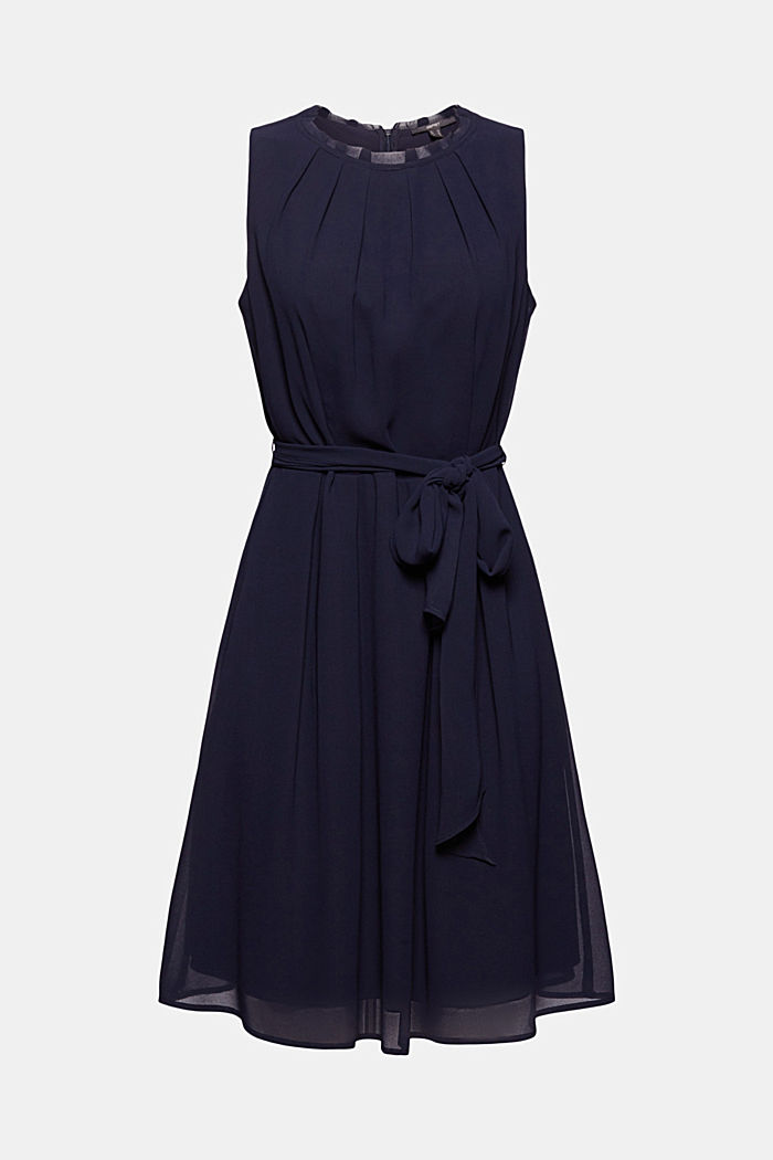 Chiffon dress with a tie-around belt and frills, NAVY, detail image number 5