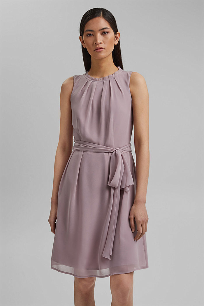 Chiffon dress with a tie-around belt and frills