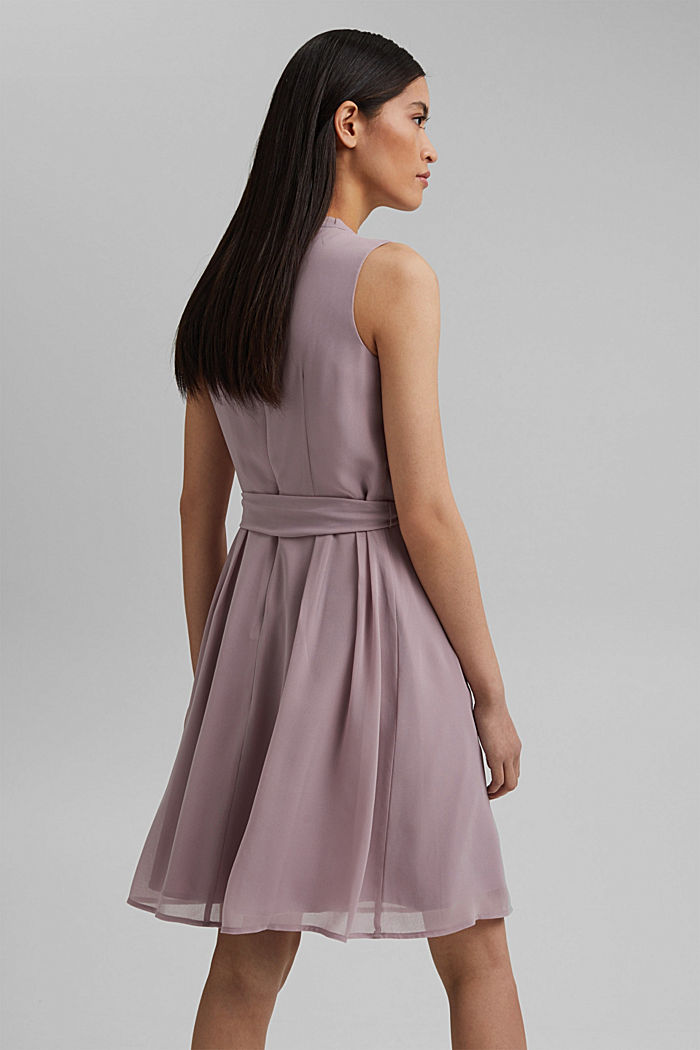 Chiffon dress with a tie-around belt and frills, MAUVE, detail image number 2