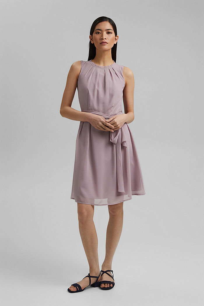 Chiffon dress with a tie-around belt and frills, MAUVE, detail image number 1