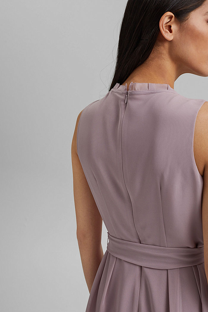 Chiffon dress with a tie-around belt and frills, MAUVE, detail image number 5