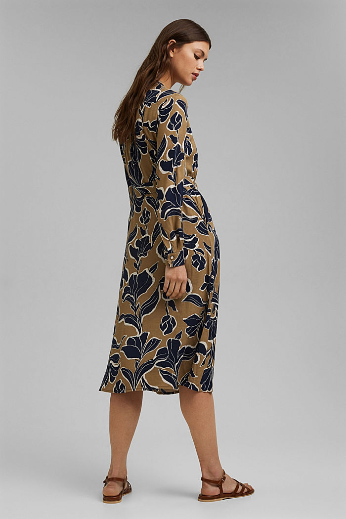 Floral shirt dress with LENZING™ ECOVERO™, CREAM BEIGE, detail image number 2