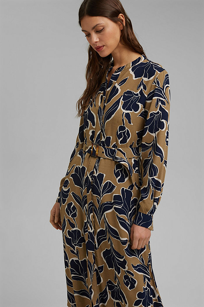 Floral shirt dress with LENZING™ ECOVERO™, CREAM BEIGE, detail image number 5