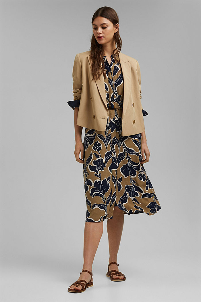 Floral shirt dress with LENZING™ ECOVERO™, CREAM BEIGE, detail image number 1