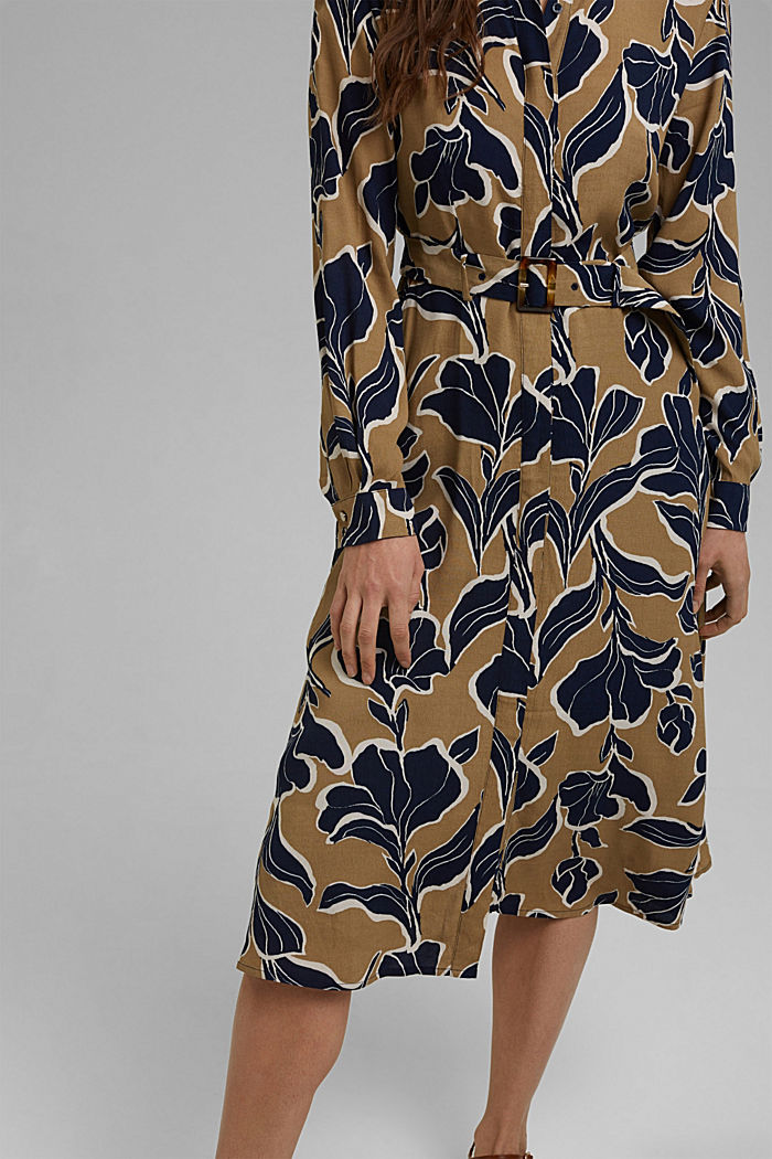 Floral shirt dress with LENZING™ ECOVERO™, CREAM BEIGE, detail image number 3