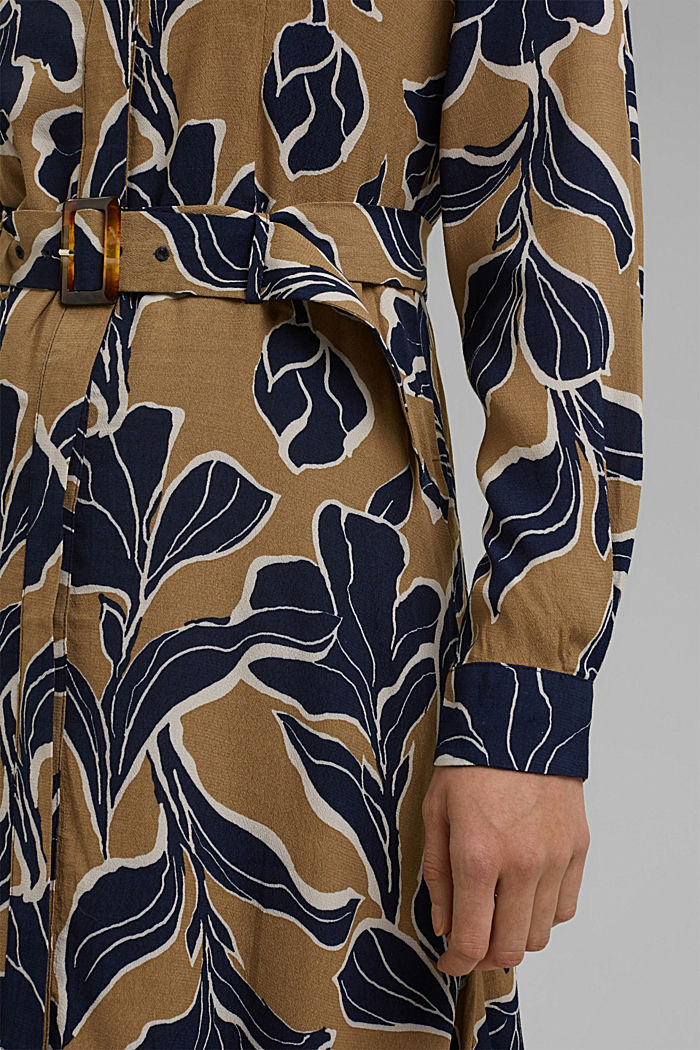 Floral shirt dress with LENZING™ ECOVERO™, CREAM BEIGE, detail image number 6