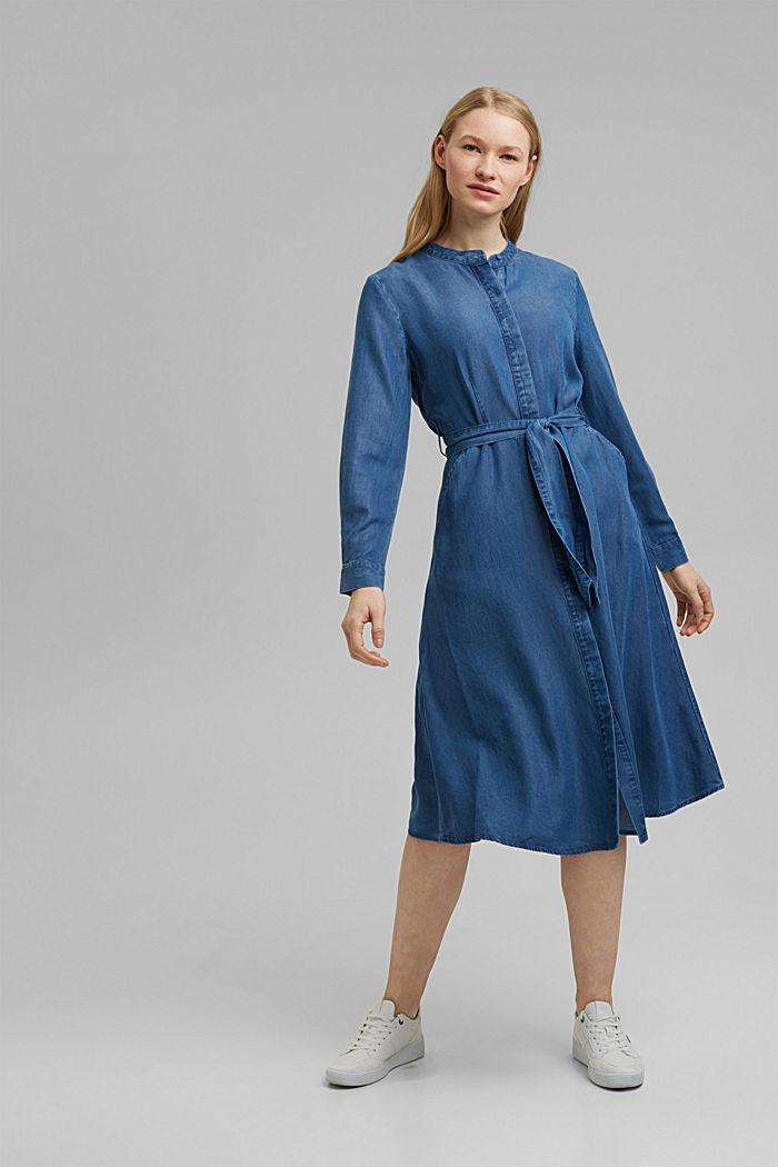 Aus TENCEL™: Kleid in Denim-Optik, BLUE MEDIUM WASHED, detail image number 0