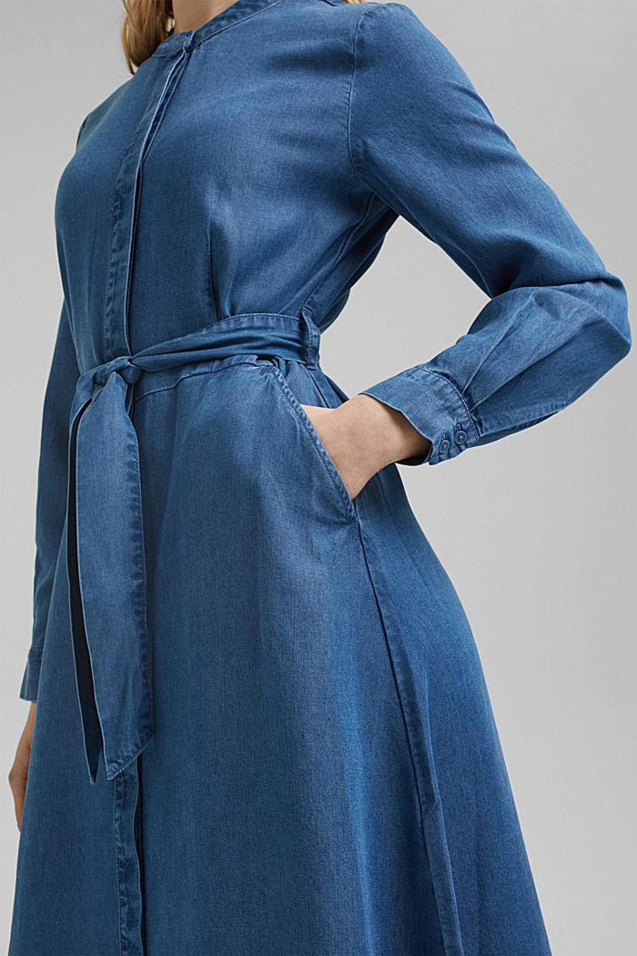 Aus TENCEL™: Kleid in Denim-Optik, BLUE MEDIUM WASHED, detail image number 3
