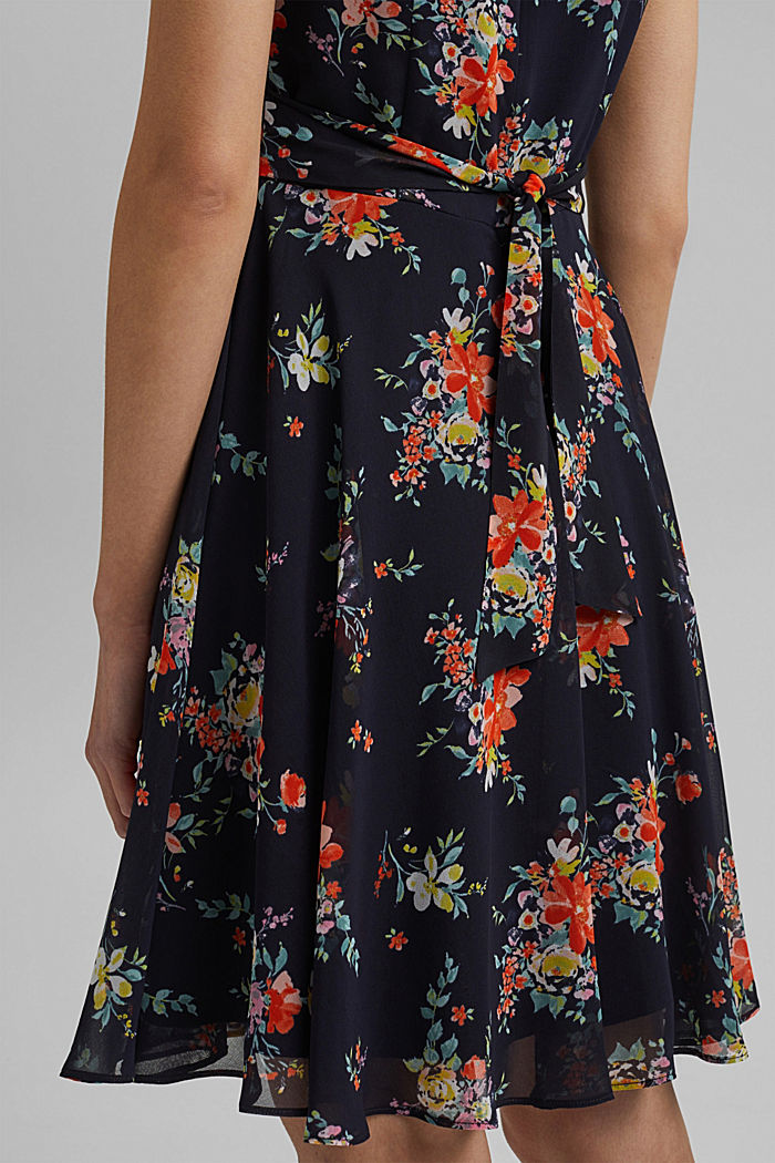 Chiffon dress with floral print, NAVY, detail image number 3