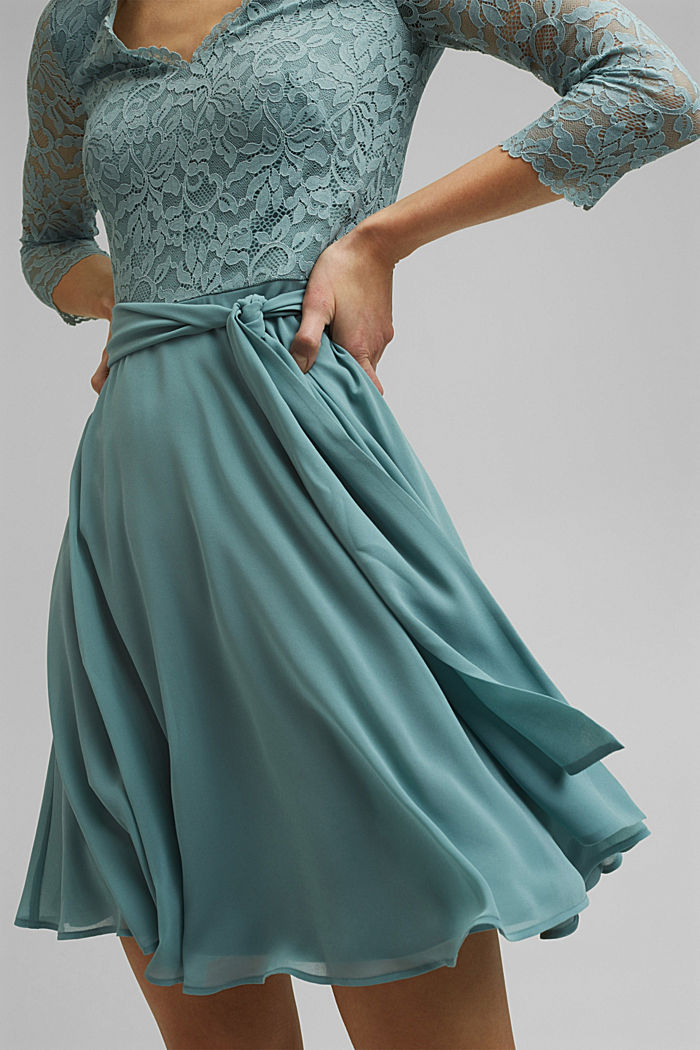 Recycled: Dress made of lace and chiffon, DARK TURQUOISE, detail image number 3