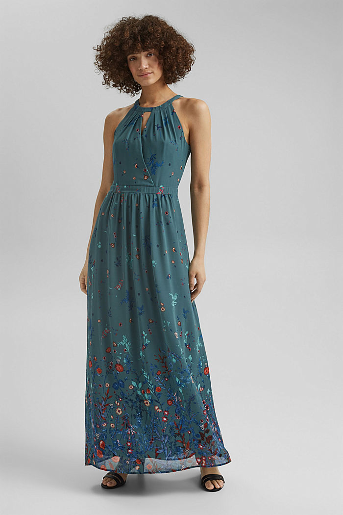 Recycled: halterneck maxi dress, DARK TURQUOISE, overview