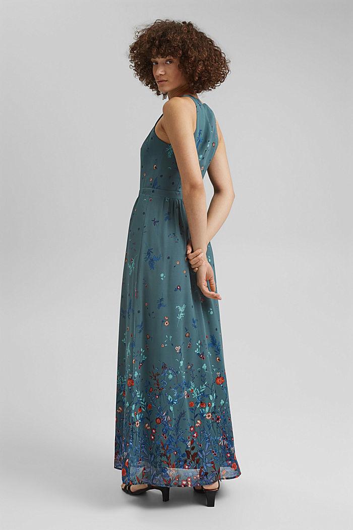 Gerecycled: maxi-jurk met halter, DARK TURQUOISE, detail image number 2