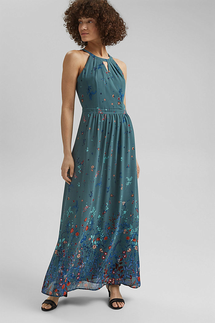 Gerecycled: maxi-jurk met halter, DARK TURQUOISE, detail image number 1