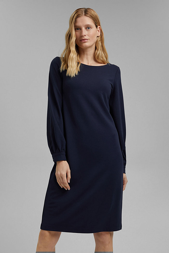 Jersey dress with LENZING™ ECOVERO™, NAVY, detail image number 0