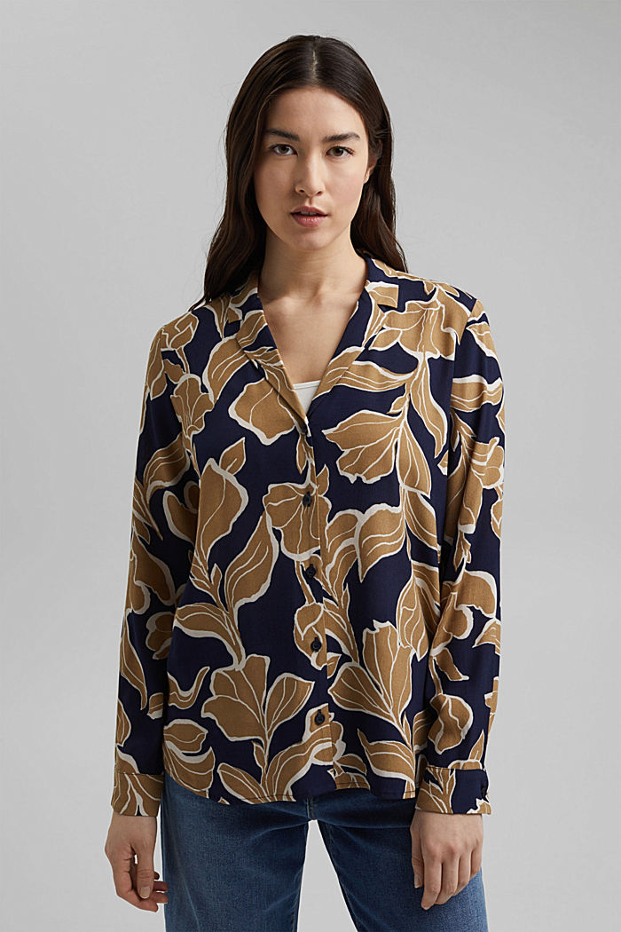 Blusa a fiori con LENZING™ ECOVERO™, NAVY, detail image number 0