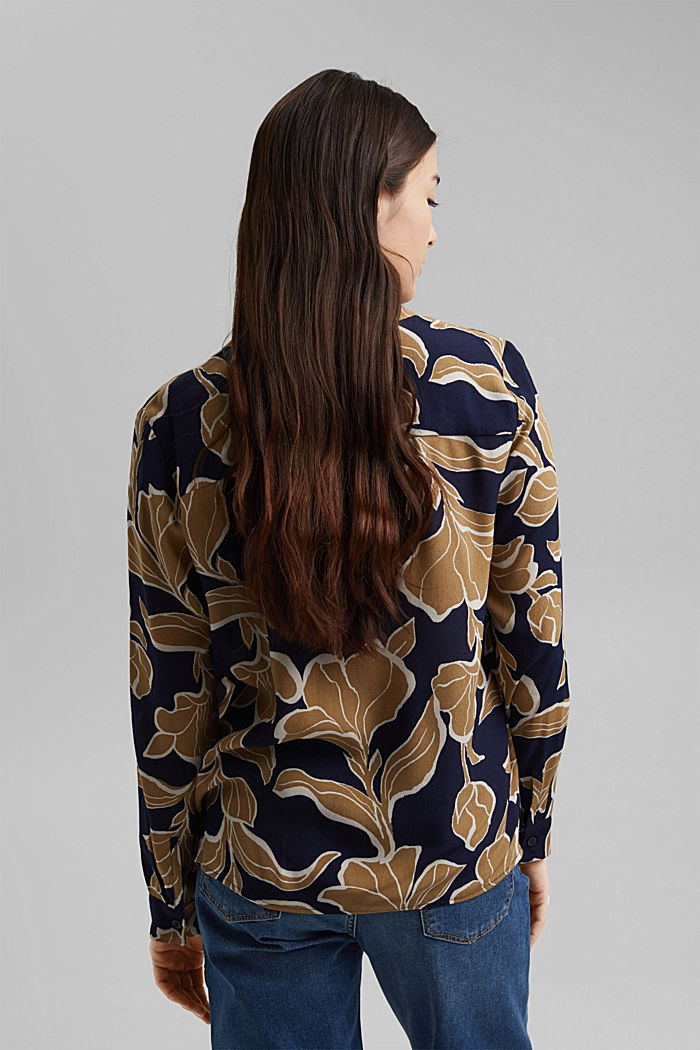 Blusa a fiori con LENZING™ ECOVERO™, NAVY, detail image number 3