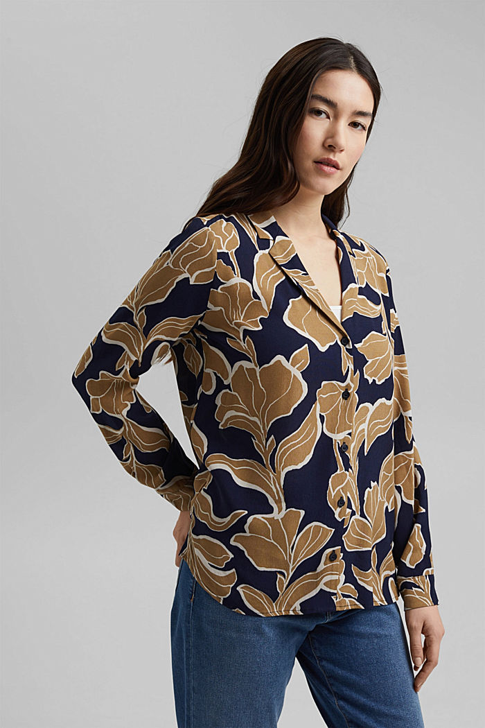 Blusa a fiori con LENZING™ ECOVERO™, NAVY, detail image number 6