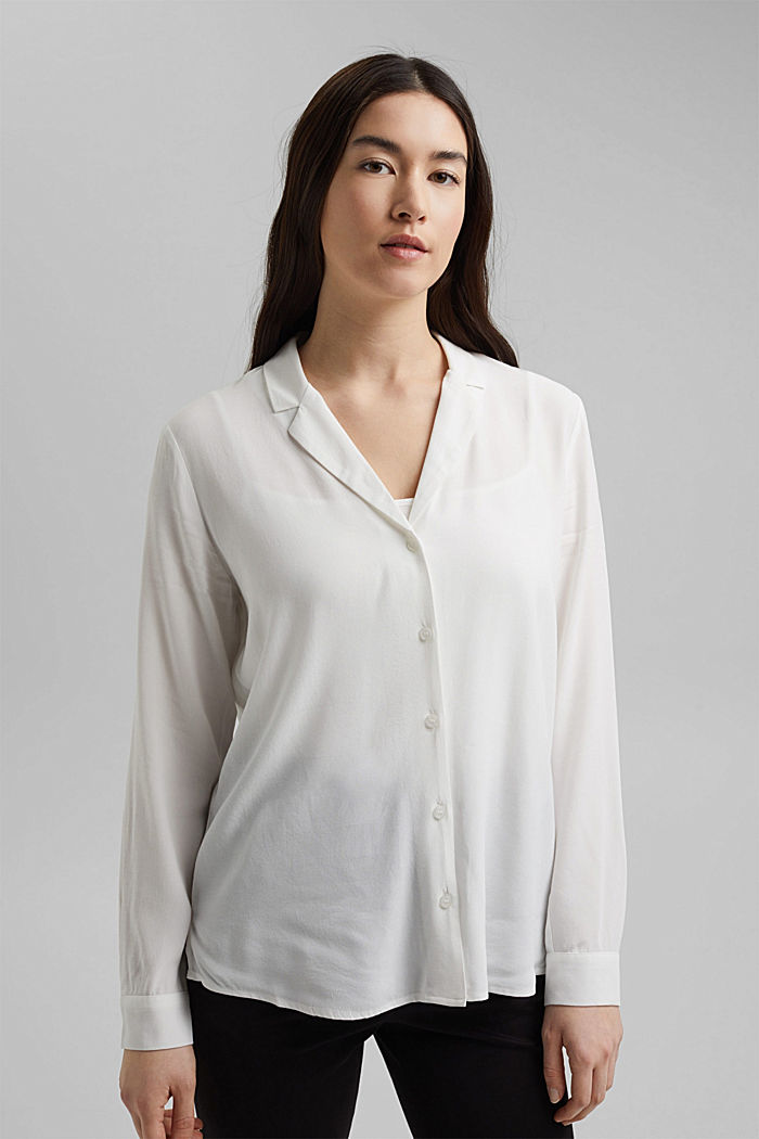 Shirt blouse with lapel collar, OFF WHITE, detail image number 1