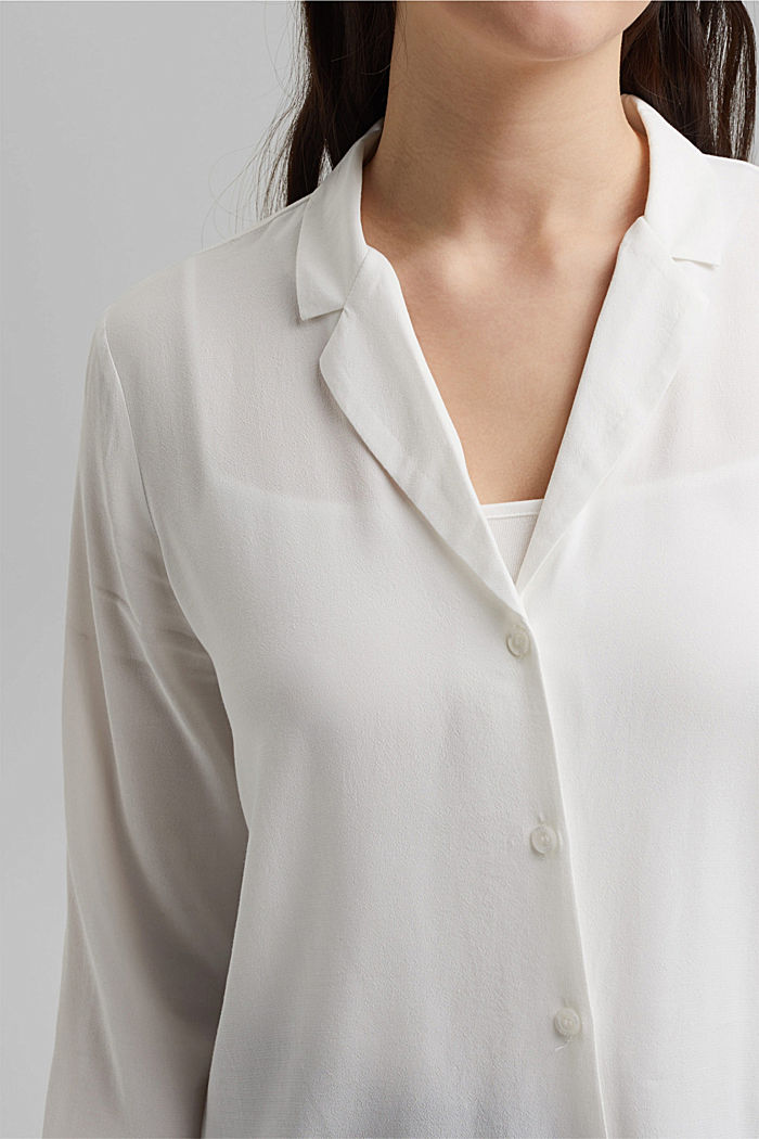 Shirt blouse with lapel collar, OFF WHITE, detail image number 2