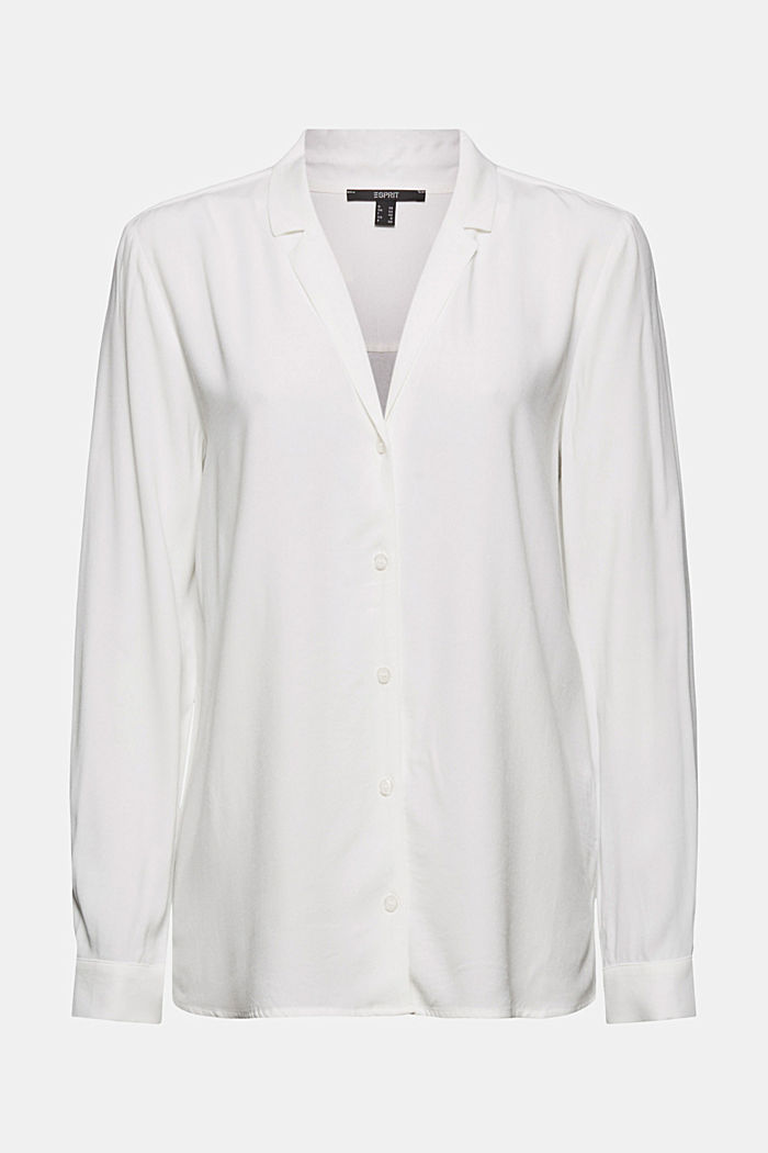 Shirt blouse with lapel collar, OFF WHITE, detail image number 8