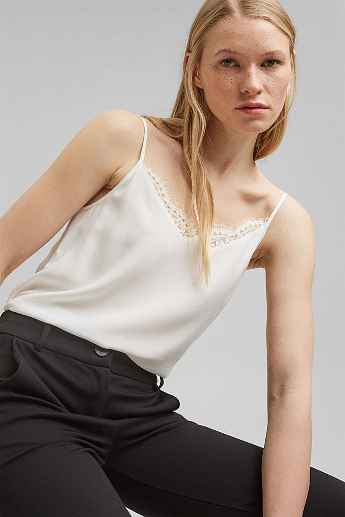 Strappy top with lace, LENZING™ ECOVERO™