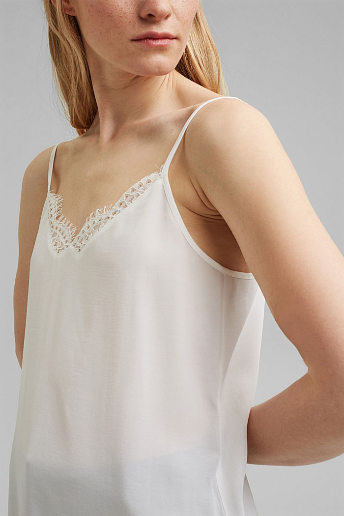 Strappy top with lace, LENZING™ ECOVERO™, OFF WHITE, detail image number 2