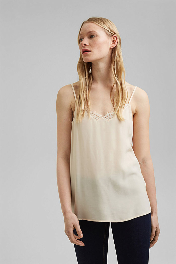 Strappy top with lace, LENZING™ ECOVERO™, CREAM BEIGE, detail image number 0