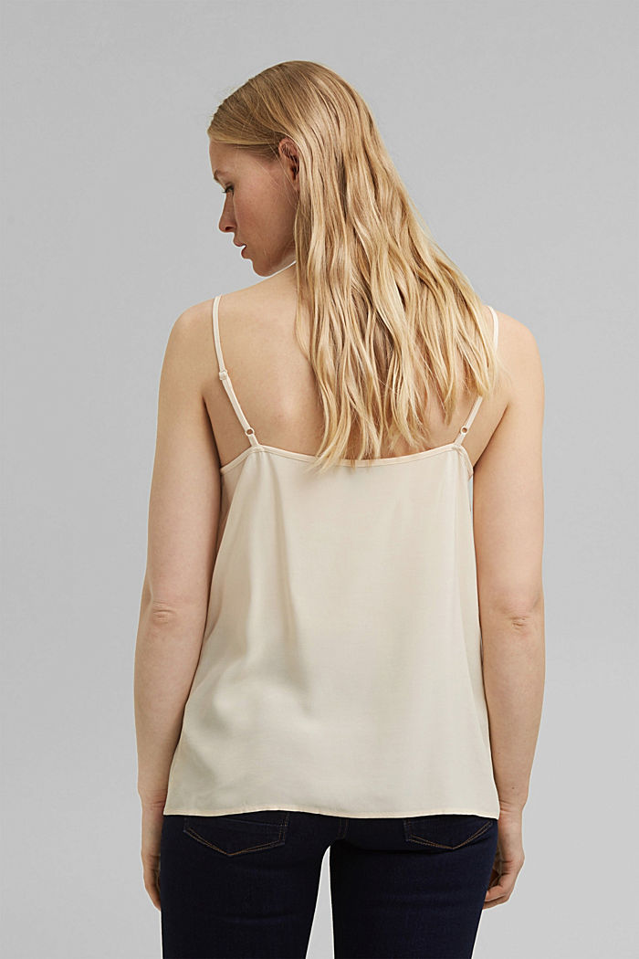 Strappy top with lace, LENZING™ ECOVERO™, CREAM BEIGE, detail image number 3