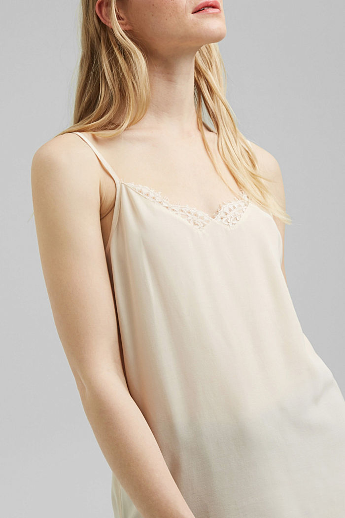 Strappy top with lace, LENZING™ ECOVERO™, CREAM BEIGE, detail image number 2