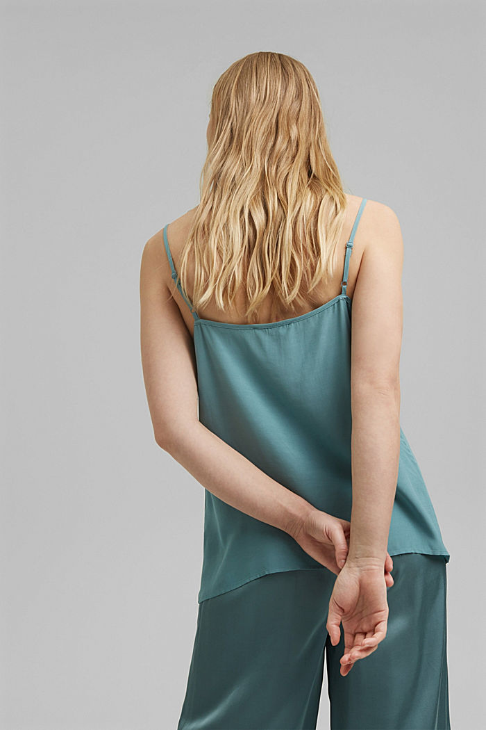 Strappy top with lace, LENZING™ ECOVERO™, DARK TURQUOISE, detail image number 3