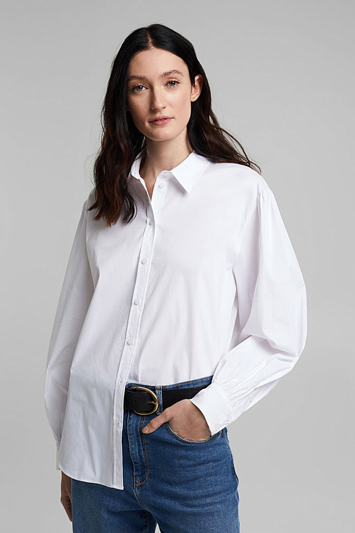 Stretch cotton blouse, WHITE, detail image number 0