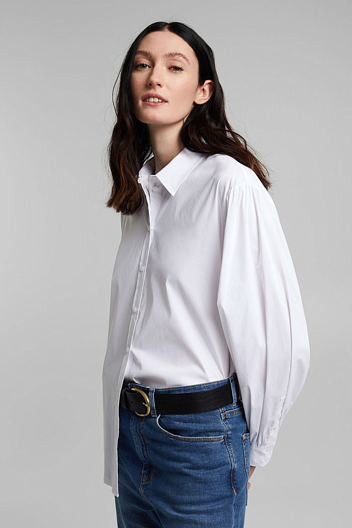 Stretch cotton blouse, WHITE, detail image number 5
