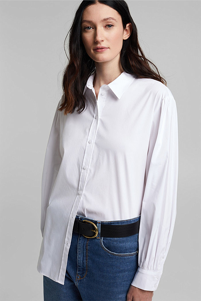 Stretch cotton blouse, WHITE, detail image number 7