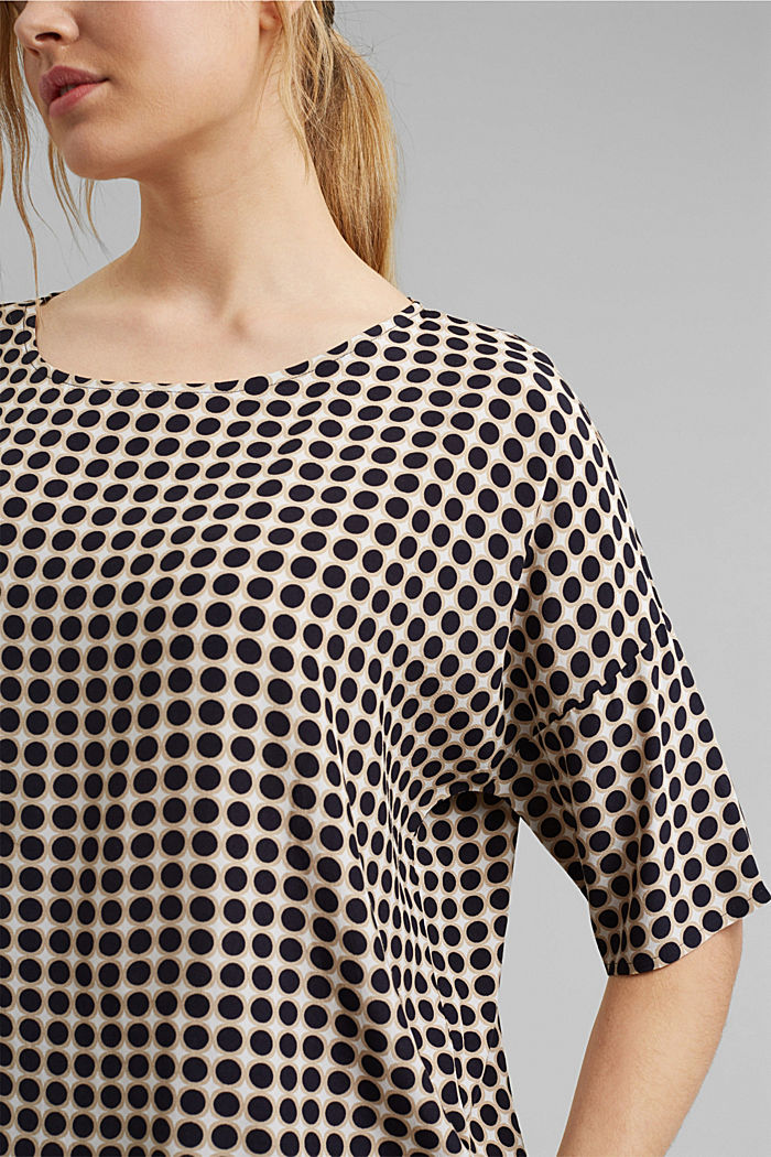 Print blouse with LENZING™ ECOVERO™, NAVY, detail image number 2