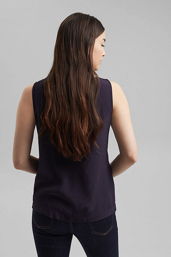 Dainty blouse with a bateau neckline, NAVY, detail image number 3
