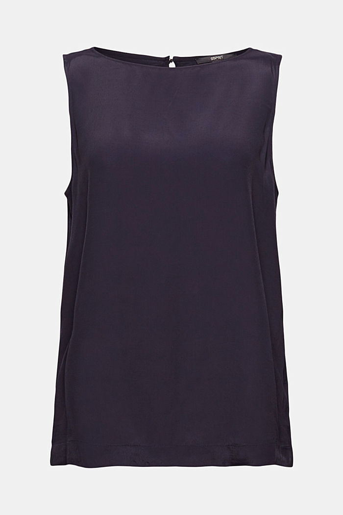Dainty blouse with a bateau neckline, NAVY, detail image number 7