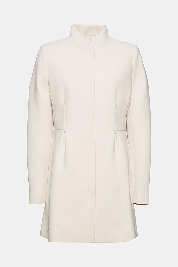 Recycled: short coat with inverted pleats