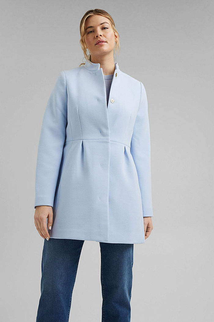 Recycled: short coat with inverted pleats, PASTEL BLUE, detail image number 1