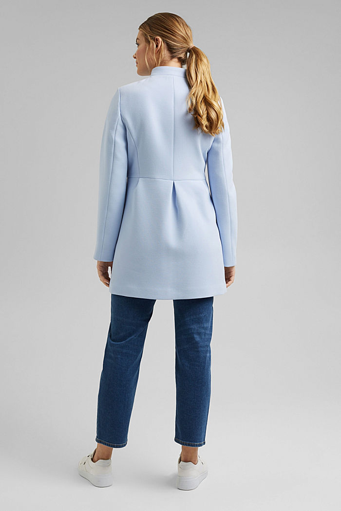 Recycled: short coat with inverted pleats, PASTEL BLUE, detail image number 3