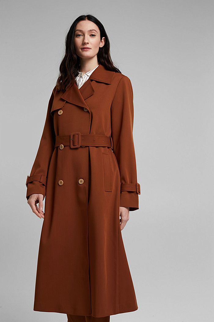 Recycled: long trenchcoat, TOFFEE, detail image number 0
