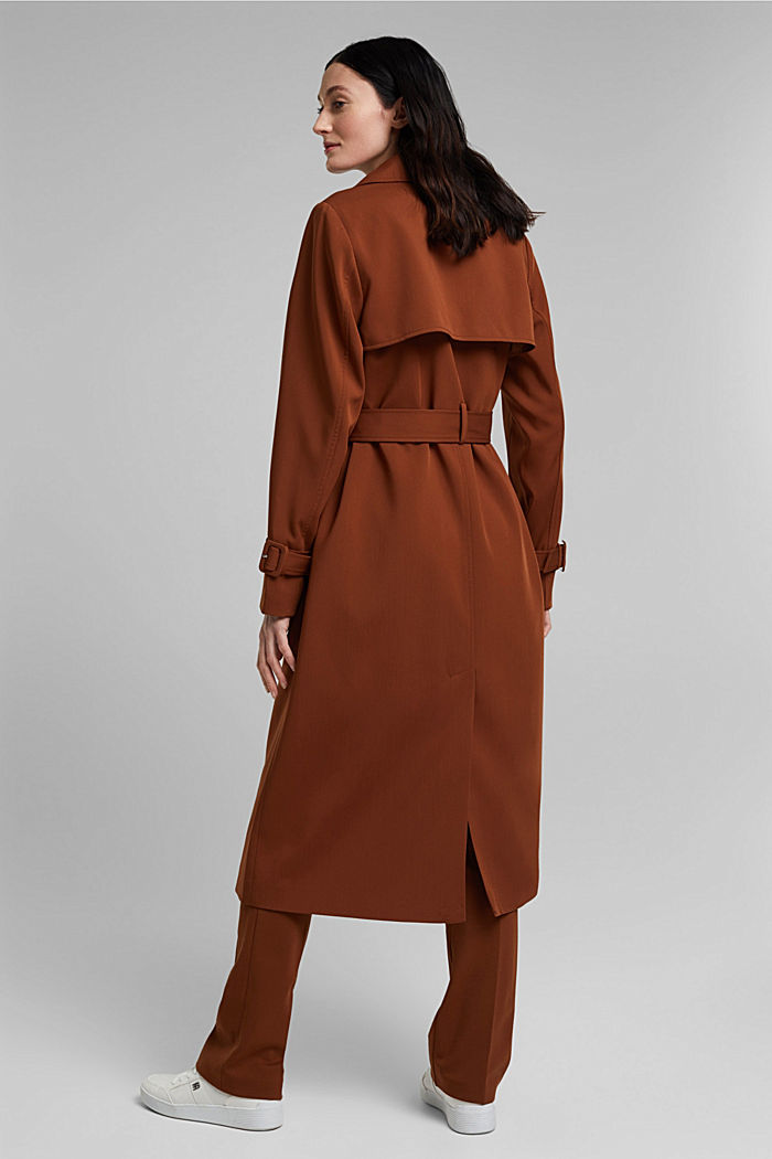 Recycled: long trenchcoat, TOFFEE, detail image number 3