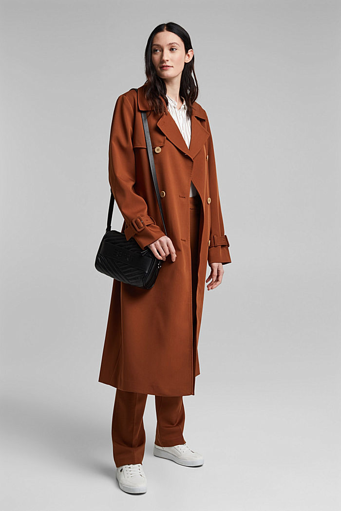 Recycled: long trenchcoat, TOFFEE, detail image number 1