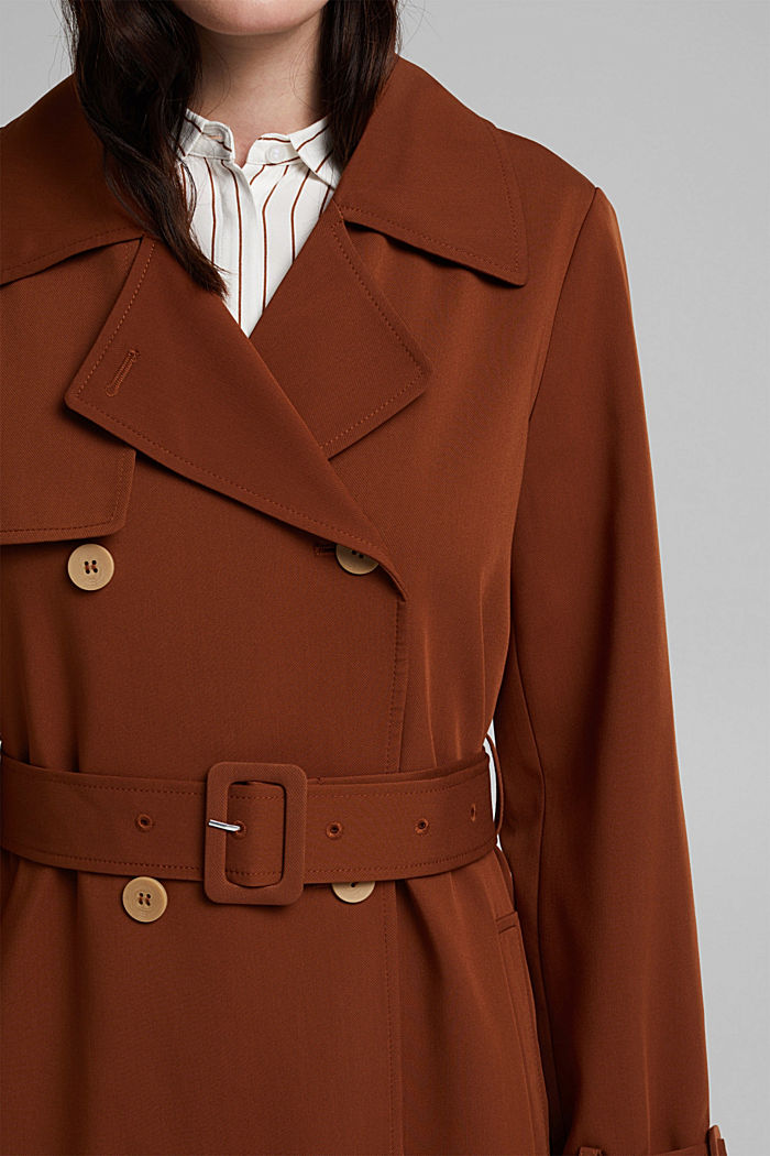 Recycled: long trenchcoat, TOFFEE, detail image number 2