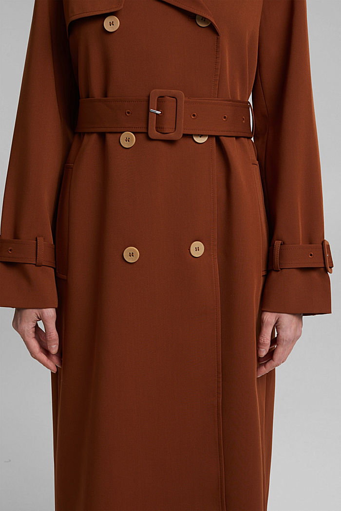 Recycled: long trenchcoat, TOFFEE, detail image number 5