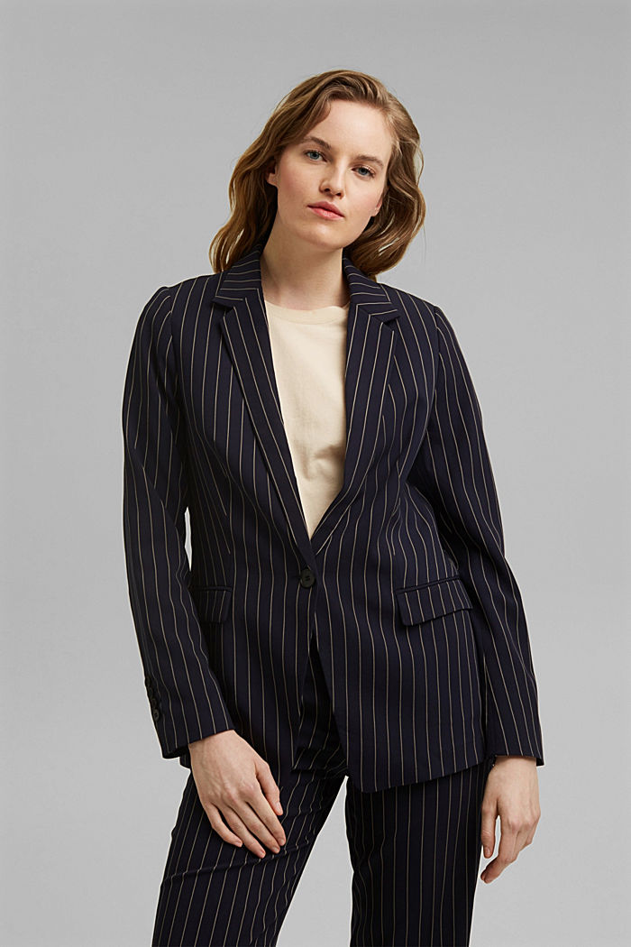 Recycled: striped one-button blazer
