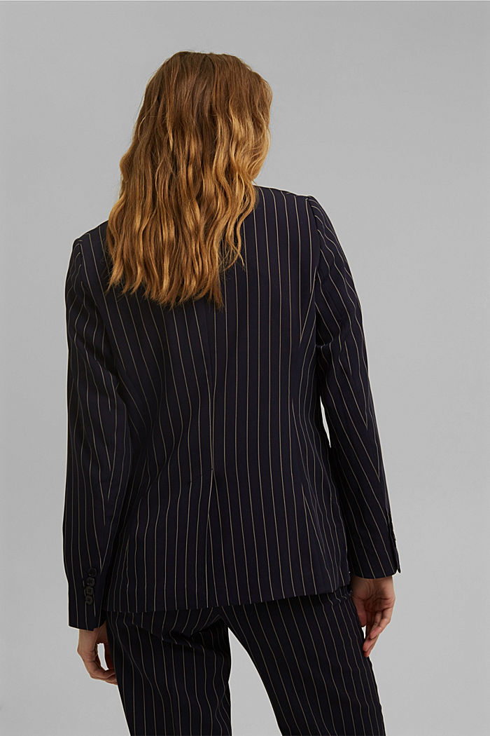 Recycled: striped one-button blazer, NAVY, detail image number 3
