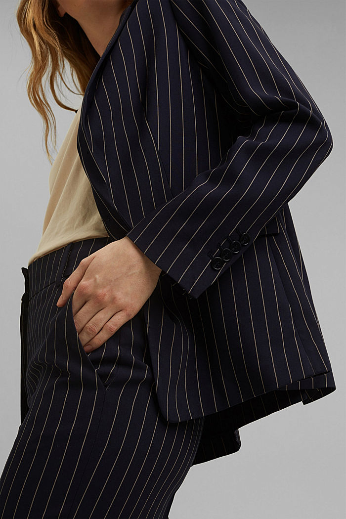 Recycled: striped one-button blazer, NAVY, detail image number 2