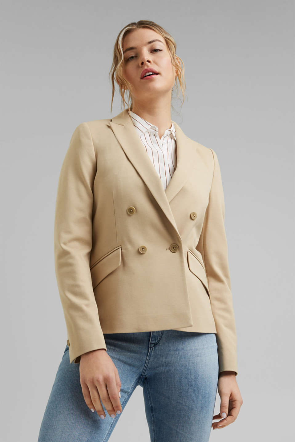 Esprit - Double-breasted jersey blazer